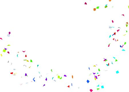 Multi-colored confetti flying in a circle. Isolated white background. 3D illustration