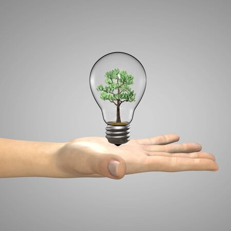 Concept illustration - a woman's hand holding a light bulb with a tree growing inside it. 3D illustration Zdjęcie Seryjne