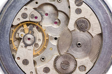 The clock mechanism in the macroscale. Old clock in close-up