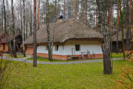 old Ukrainian House with a thatched roof in the forest photo