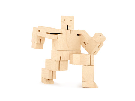 Wooden toy robot photo