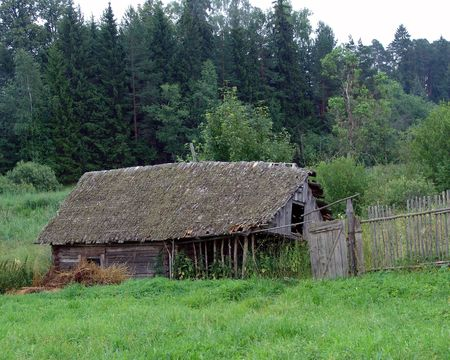 penury:  the old dilapidated wooden shed Stock Photo