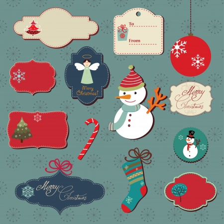 A Christmas set consisting in vector graphic labels and elements Illustration