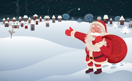 An illustration with Santa Claus almost ready to deliver the goods in a little town  Vector image, all editable  Vector
