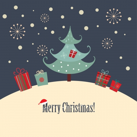 A Christmas card with a simple design style  Illustration