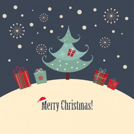 Une carte de Noël avec un style de conception simple Banque d'images - 23763807