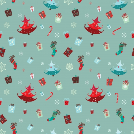 motifs: A collection of traditional Christmas motifs gathered in a seamless pattern Illustration