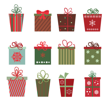 presents: A site of twelve Christmas gifts on white background
