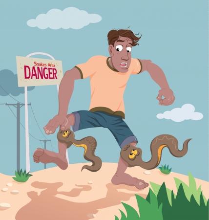 Un vector de la historieta que ilustra una situación peligrosa