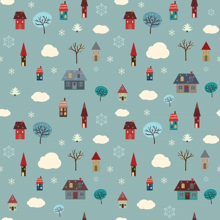 Seamless vector pattern containing winter elements