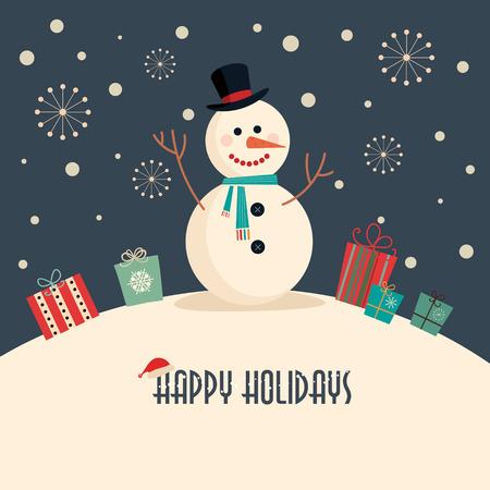 bonhomme de neige: Carte de Noël avec Bonhomme de neige