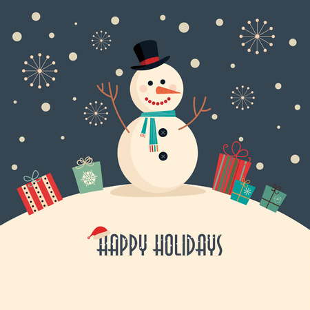 happy holidays text: Christmas card with snowman