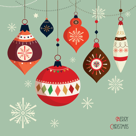retro christmas: Christmas balls  card