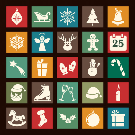 Flat Christmas icons collection Illustration