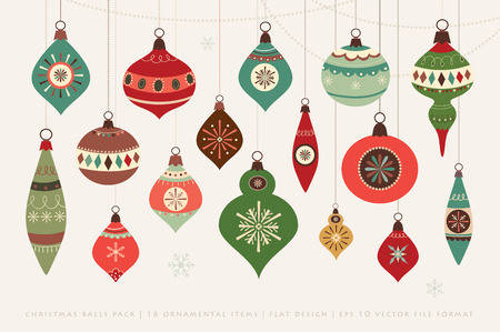 christmas baubles of modern design: Christmas card with Christmas balls