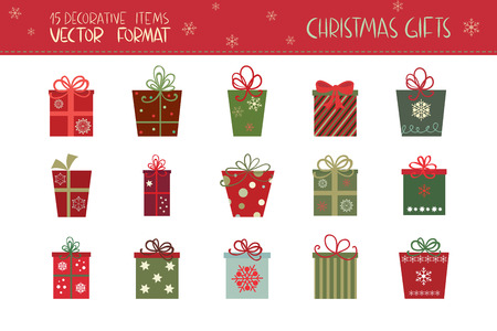christmas stars: Christmas gifts set Illustration