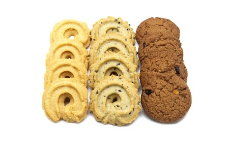 Collection of cookies and biscuit with different flavor, chocolate chip butter, vanilla and black sesame. Isolated on white background.