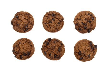 Collection of chocolate chip cookies crunchy delicious sweet meal and useful biscuits isolated on white background. Homemade pastry. Archivio Fotografico