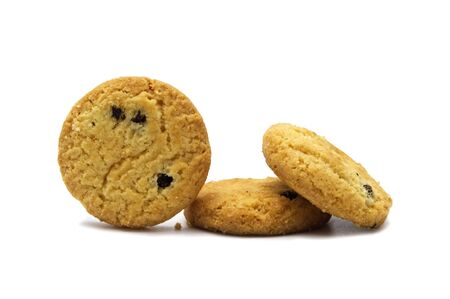 Raisin cookies biscuit flavor. Isolated on white background.