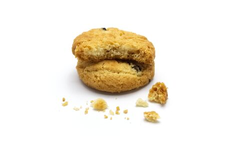 Raisin cookies or biscuit with crumbs flavor. Isolated on white background. Selective focus. Archivio Fotografico