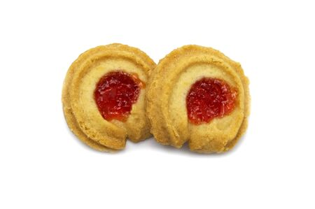 Butter cookies strawberry jam topping and sweet flavored. Both of biscuits cracker homemade isolated on white background.