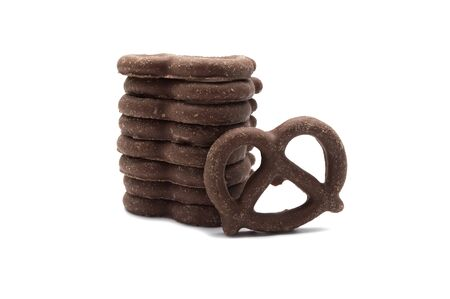 Pretzel with Chocolated biscuit flavored and coated chocolated cream on white background.
