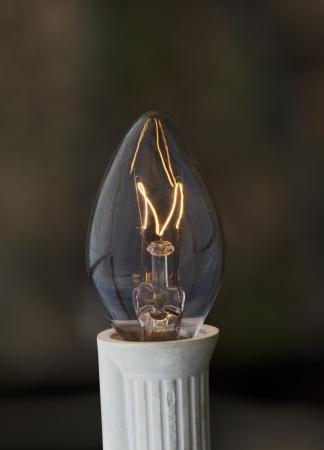 Incandescent light bulb against a dark background Imagens