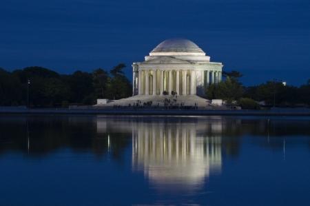 Thomas Jefferson Memorial after sunset Editorial