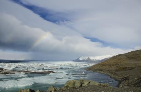Rainbow over the Vatnajokull glacier, the biggest in Europe