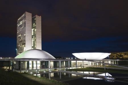 congress: Brazilian National Congress in Brasilia, designed by famous architect Oscar Niemeyer Stock Photo