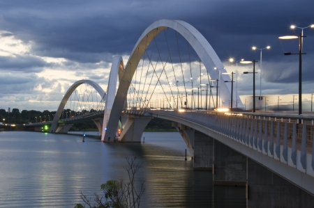 Juscelino Kubitschek Bridge in Brasilia, Brazil at sunset photo