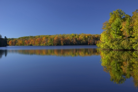 Colorful foliage and blue sky reflecting in a lake