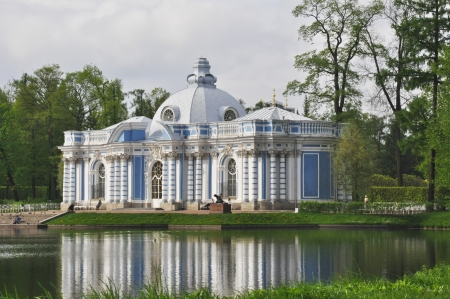 st  petersburg: Grotto Pavilion on the big pond in Catherines park, Tsarskoe Selo (Pushkin), St. Petersburg, Russia Stock Photo