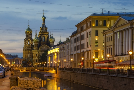 Church of Our Savior on Spilled Blood, St. Petersburg, Russia at night