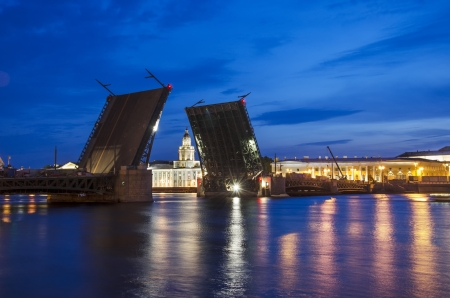 Raised Palace Bridge over the river Neva in St. Petersburg, Russia. Under construction.