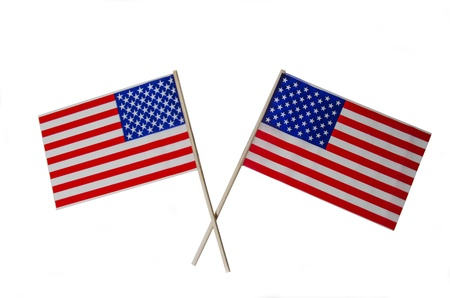 Two American Flags isolated on a white background