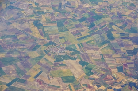 Aerial view of agricultural fields of Spain