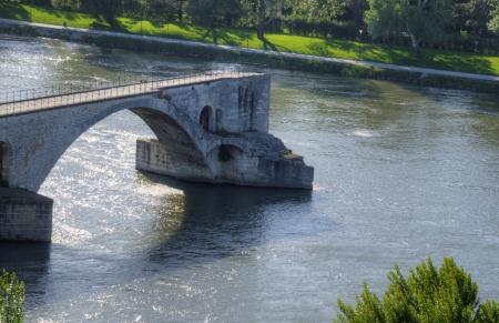 Unfinished Pont Saint-Bénezet also known as Avignon Bridge in Avignon, France Stock Photo