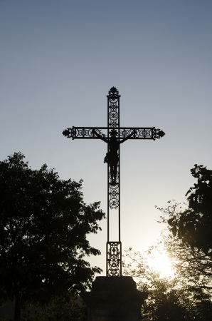 Crucifixion in an old village in France Stock Photo