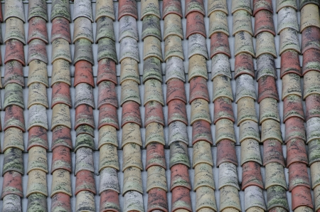 Close-up of old ceramic roof tiles Stock Photo