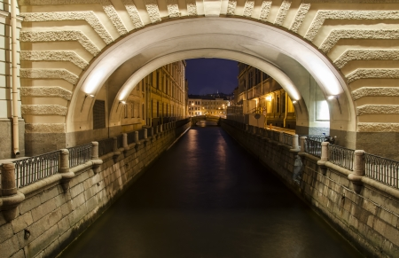The Winter Channel in St  Petersburg, Russia at night  Stock Photo