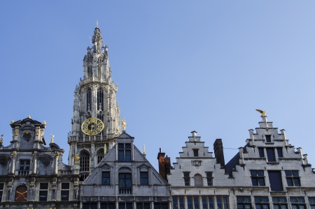 Cathedral of Our Lady is seen behind the guild houses on Grote Markt, Antwerp, Belgium