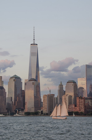 A view of the Manhattan skyline from the Hudson River