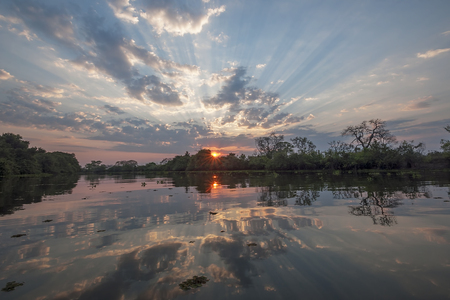 Sunset reflecting in a river in Pantanal, Brazil Stock Photo