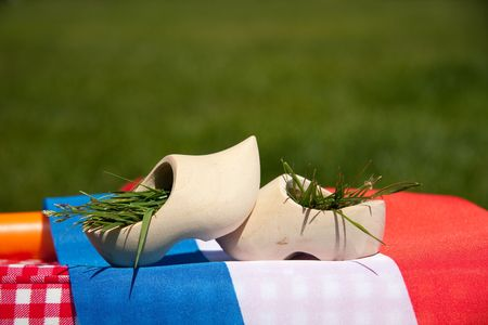 two wooden clogs on a Dutch flag against a green field photo
