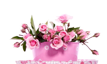 a bouquet witth little pink roses in an iron flower pot isolated on white background