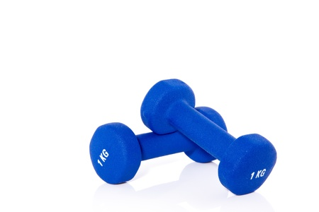 blue weightlifting instruments isolated on white background
