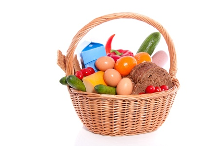 daily food in a wicker basket Stock Photo
