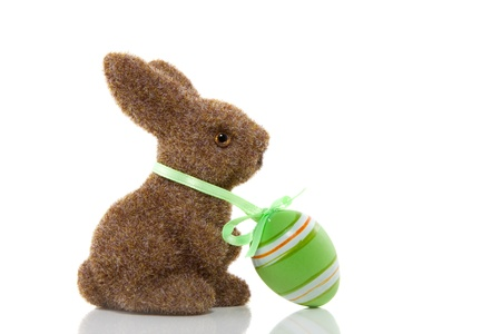 bunnie: a hairy brown bunnie with an easter egg around his neck isolated over white