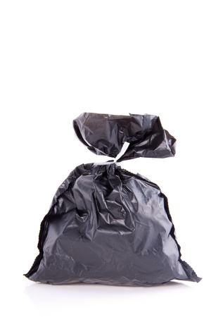 a grey garbage bag isolated over white